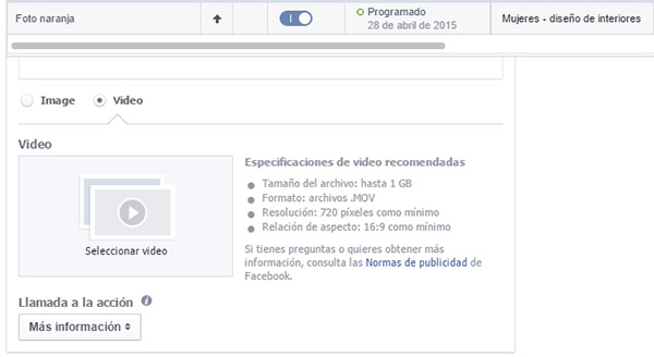 Video en anuncios de Facebook Ads