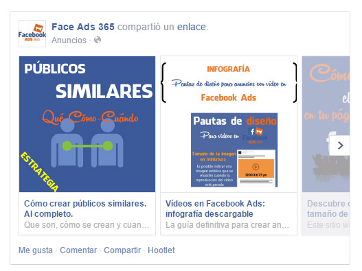 Anuncio multiproducto Facebook Ads