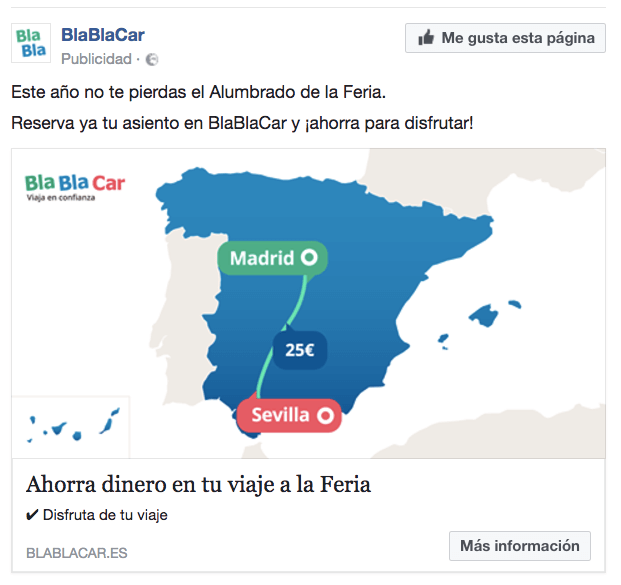 Anuncio Facebook Bla bla car