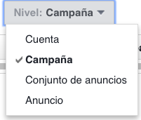 Nivel en informes de Facebook Ads