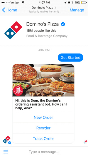 Chatbot Dominos Pizza