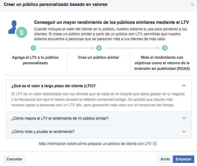 Valor vida cliente Facebook Ads